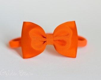 Bella Orange Bow Headband OR Clip - Baby Nylon Headband - Baby to Adult Headband