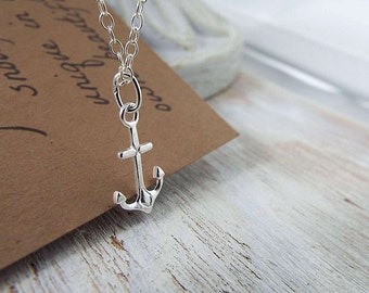 Sterling Silver Anchor Necklace - Anchor jewelry - Nautical Jewelry - Nautical Wedding