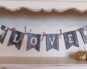 "Rustic Wedding Banner ""LOVE"" Reclaimed Barn Roof,  Wedding, Christmas, Valentine Gift & Home Decor"