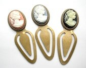 Three Cameo Book Markers - Antiqued Brass