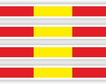 Flag Sticker Stripes Spain Spanish Stripe for Bumper Helmet Bike Car Truck Door ToolBox Bike