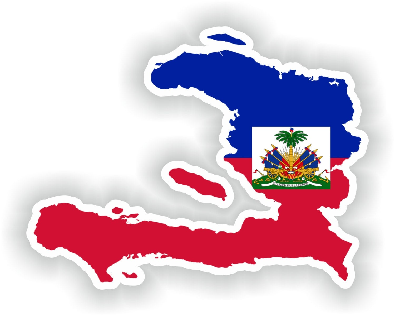 haiti map flag silhouette sticker  laptop book fridge