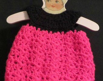 "18"" Crochet Doll Dress - Hot Pink and Black"