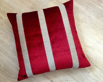 "Osborne and Little Du BARRY STRIPE Wide bright RED striped velvet on linen 20"" or 50cm square cushion cover pillow Sham, Cushion."