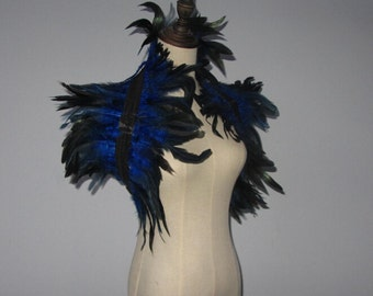 Royal Blue  Coque feathers shrug Burlesque Goth Collar Cape Shoulder Wrap