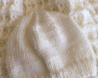 """Cozy Baby Afghan and Knit Hat in """"White"""", Crochet Baby Blanket, Crochet Baby Afghan, Spring Afghan, Newborn Baby Afghan, Waffle Stitch"""