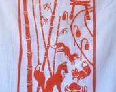 Flour Sack Dish Towel - Foxes, Burnt Orange