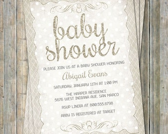 Glitter Baby Shower Invitation, Shabby Chic, Neutral Off White, Digital, Printable file