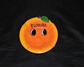 Vintage Florida Orange Ceramic Ash Tray Happy Face Blue Eyes Smile for Smoking