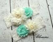 SEAFOAM Bridal Garter Set - Ivory Keepsake & Toss Wedding Garter - Chiffon Flower Rhinestone Lace Garters - Vintage Lace Garter - Garder