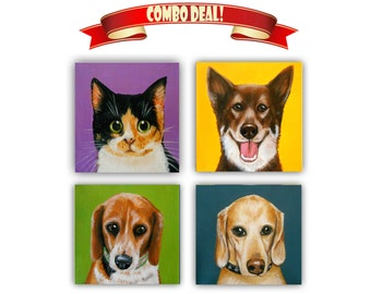 "Set of Four 6x6"" Custom Dog Portrait / Custom Portrait Pets - 1 to 4 Pets - Close-Up Solid background Gift Idea Cats Bunnies Birds"