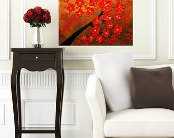 Oil Floral painting Abstract Original Modern 20 x 20 palette knife Red Blossom Tree Impasto oil  painting by Nicolette Vaughan Horner