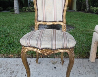 PRETTY PAINTED PETITE / Gilded And Carved Single French Chair / Floral Detailing / Nailheads / Paris Apt