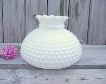 """XLg Antique MILK GLASS Fenton Hobnail Parlor Lamp SHADE - for 10"""" fitter - Replacement Globe Light Lampshade #3"""
