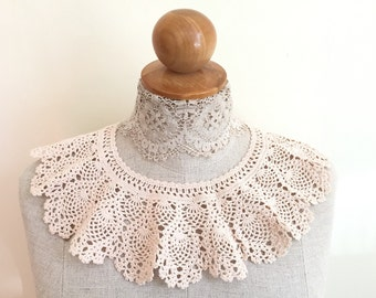 Vintage Crochet Collar - Crochet Necklace - Crochet Coat Collar - Crochet Jewelry