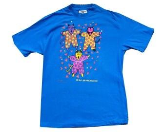 90's Neon Cat Rhinestone Abstract Silly  Kitty Teal Tee Shirt 1992