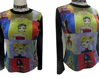 Velvet Pop Art Strethy 90's Color Block Black Shirt