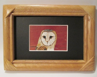"Barn Owl hand painted on birch bark - matted and framed 5"" x 7"" - by Ann Kelly"