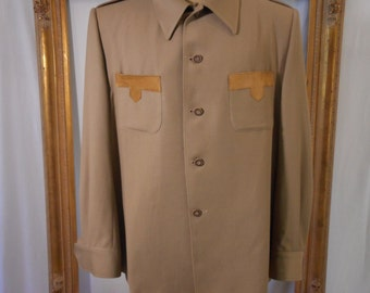 Vintage 1970's Swagger Tan Wool Suit - Size XXL