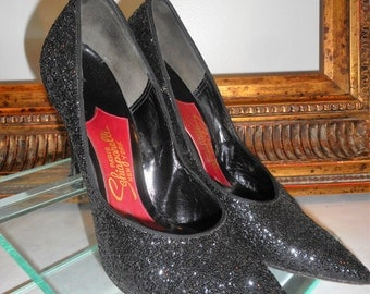 Vintage 1960's Schiaparelli Black Glitter Evening Pumps - Size 6 B