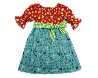 Girls Fall Dress Back To School Woodland Animals Green Gingham Sash Peasant Size 6-12 month, 18 month, 2 / 3, 4 / 5, 6 / 7, 8 / 9