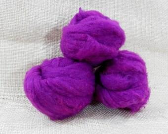 Needle felting wool batting in Magenta, wool batting, felting supplies, wool batting, wet felting or needle felting, purple pink wool roving