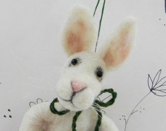Needle felted white bunny in carrot ornament for the bunny lover, white Easter bunny, white rabbit, Pet Pocket bunny rabbit, ready to mail