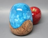 Handmade Faberge Wooden Ostrich Egg Sculpture made of Carved Maple Wood with Brilliantly Colored Pearl Blue Resin - Collectible Wedding Gift