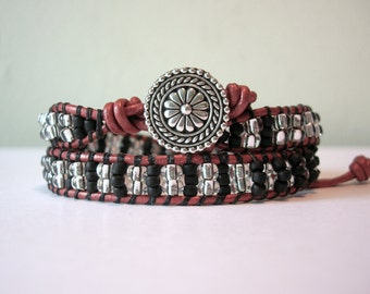 Zebra Crossing: Double Wrap Bracelet - Silver Japanese Seed Beads & Czechoslovakian Matte Black Seed Beads - Antiqued Silver Floral Button