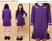 24HR FLASH SALE 80s 90s Vtg Sailor Moon Collared Mod Purple Pleated Micro Mini Dress / Schoolgirl Grunge Kawaii / Xxs Xs