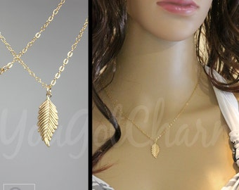 The Charm Leaf Necklace - Layered Necklace - Charm Necklace - Gold Necklace - Leaf Necklace - Layering Necklace - Gold Layering Necklace