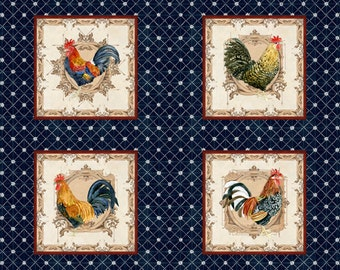 ROOSTERS In the Beginning fabrics cotton panel CHICKENS  in squares on blue-1AJB2