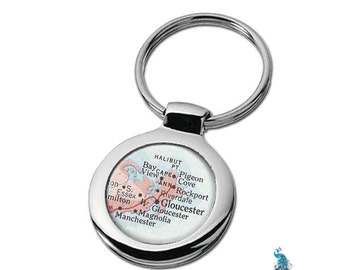 Map Keychain Gloucester Massachusetts Key Ring Fob