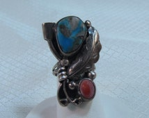 Navajo Silversmith Turquoise, Coral and Sterling Ring