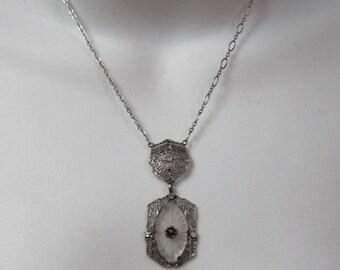 Victorian Sterling Camphor Glass Pendant