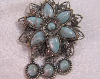 c1940's Southwestern Star Pin with Faux Turquoise Stones