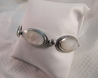c1980's Mother of Pearl and Sterling Link Bracelet