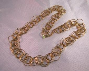 """Vintage Joan Rivers C1980's Gold Link 28"""" Necklace"""
