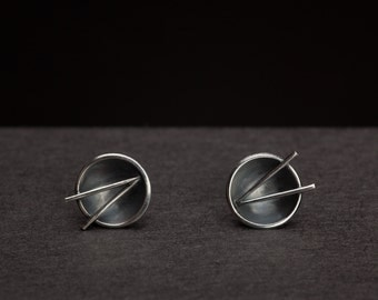Chopstick Oxidised Earrings- Handmade sterling silver stud earrings with tiny chopsticks
