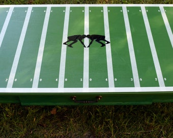 """Anyone's Game """"Paper Football"""" Table-Repurposed-Wood-Decoupage-Coffee-Table"""