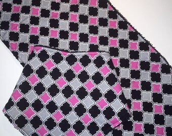 Pink & Black Modern Baby Bib, Bandana Bib, Burp Cloth, Baby Shower Gift Set