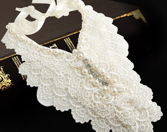 Pearl Lace  Rhinestone Detachable Collar yoke Necklace