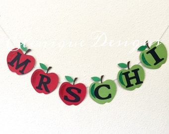 Apple Garland for classroom, back to school party, kid's room