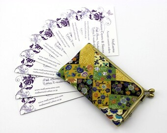 Kimono Card Case, Credit Card Holder ,Business Card Holder ,Gift For Her,Flowers Yellow Green
