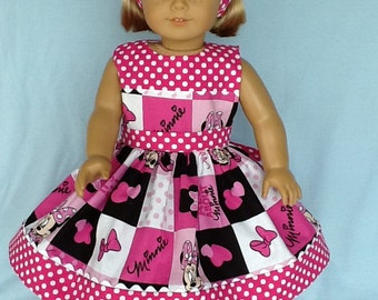 18 inch doll clothes. Doll dress and headband  for American Girl or other 18 inch doll. Minnie Mouse print with hot pink contrast.