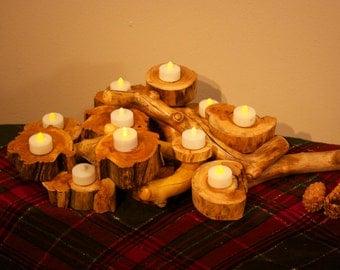 Wood wall art - Branch sculpture - Rustic centerpiece - Aspen furniture - Candle holder