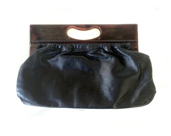 Black Leather Justin Purse with Brown Tortoise Handles