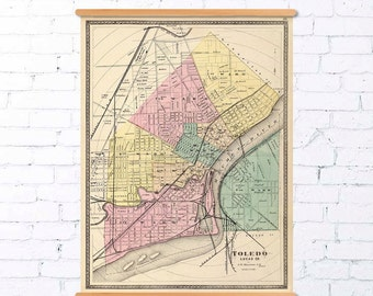 Toledo map - Old map print - Map of Toledo (Ohio) - Fine print