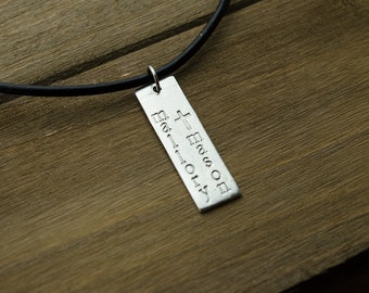 Hand Stamped Bar Necklace | Pewter Bar | 2 Names Stamped Vertical | Black Leather Cord Necklace | Personalized Gifts for Men | Gifts for Dad
