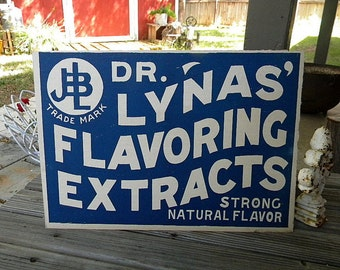 Dr Lynas flavoring extract sign 1910 unused stock from closed factory antique advertising
